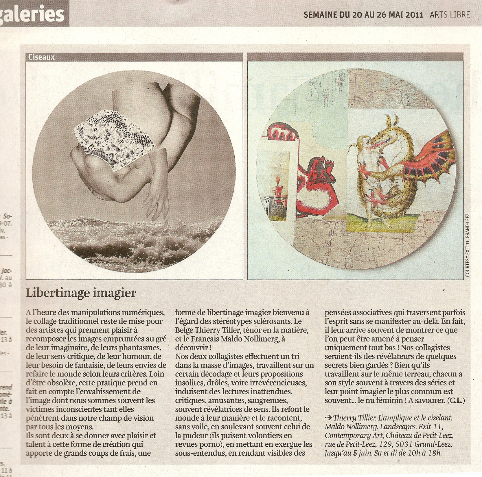 Thierry Tillier – Libertinage imagier – Claude Lorent, Arts Libre supplement to LA LIBRE BELGIQUE, Friday May 20, 2011